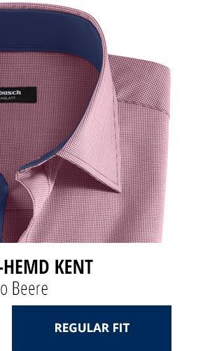 Extraglatt-Hemd Kent Regular Fit, Minikaro Beere | Walbusch