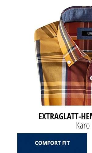Extraglatt-Hemd Herbstlaub - Karo Terra, Comfort Fit   Walbusch