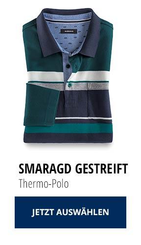 Jetzt testen: 2 Thermo-Polos nur € 79,90: Smaragd Gestreift | Walbusch