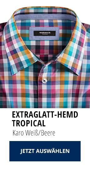 Extraglatt-Hemd Tropical Karo Weiß/Beere | Walbusch