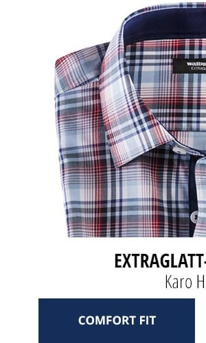 Extraglatt-Hemd Kent Comfort Fit, Karo Hellblau | Walbusch