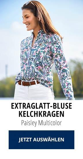 Extraglatt-Bluse Kelchkragen Paisley Multicolor   Walbusch