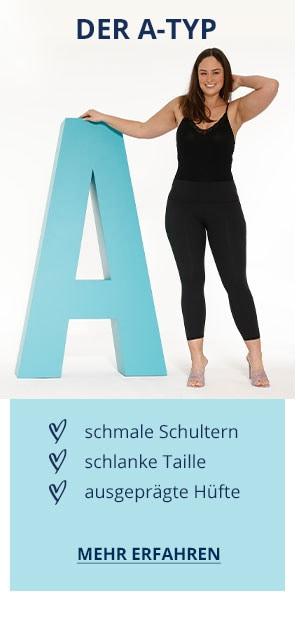 Der A-Typ: schmale Schultern, schlanke Taille, ausgeprägte Hüfte