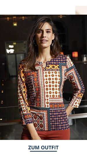 Outfit Trendfarben Viskose Shirt Mosaik   Walbusch