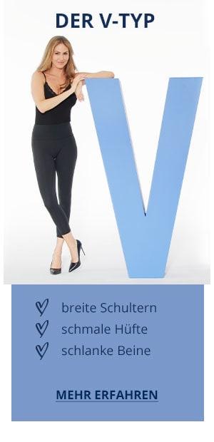 Der V-Typ: breite Schultern, schmale Hüfte, schlanke Beine