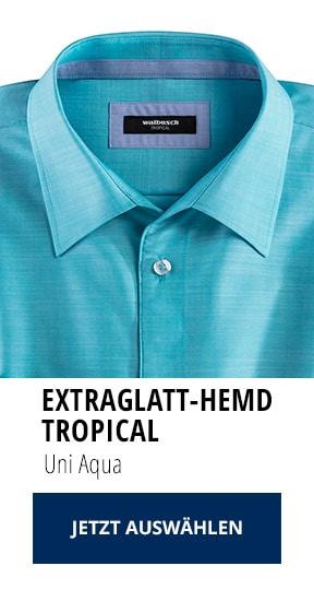 Extraglatt-Hemd Tropical Uni Aqua | Walbusch
