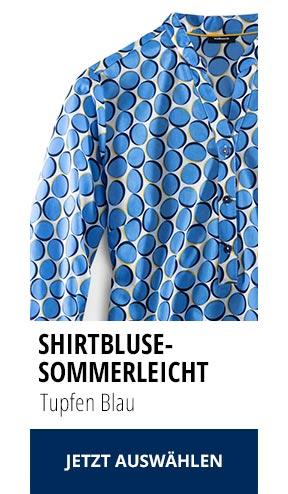 Shirtbluse Sommerleicht Tupfen Blau | Walbusch