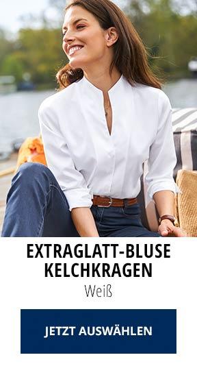Extraglatt-Bluse Kelchkragen Weiß   Walbusch