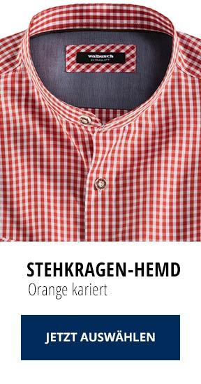 Stehkragen-Hemd Orange kariert   Walbusch