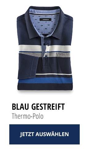 Jetzt testen: 2 Thermo-Polos nur € 79,90: Blau Gestreift | Walbusch