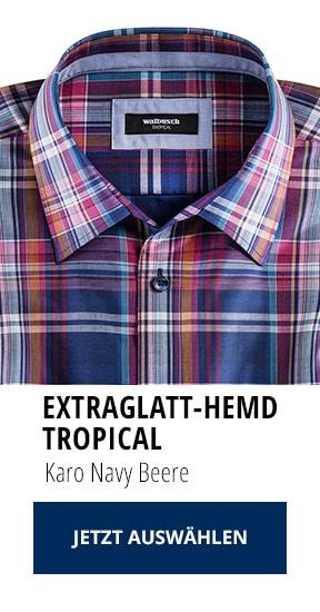 Extraglatt-Hemd Tropical Karo Navy Beere | Walbusch