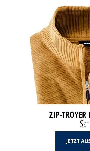 Zip-Troyer Herbstlaub - Safran   Walbusch