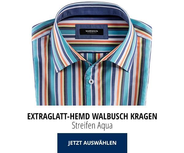 Extraglatt-Hemd Walbusch-Kragen Streifen Aqua | Walbusch