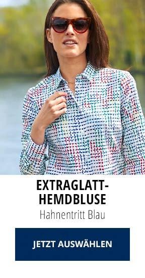 Extraglatt-Hemdbluse Hahnentritt Blau   Walbusch