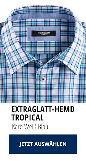 Extraglatt-Hemd Tropical Karo Weiß Blau | Walbusch