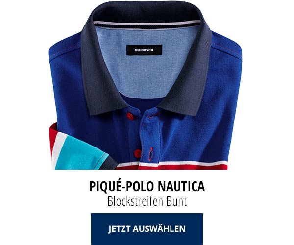 Piqué-Polo Nautica Blockstreifen Bunt   Walbusch