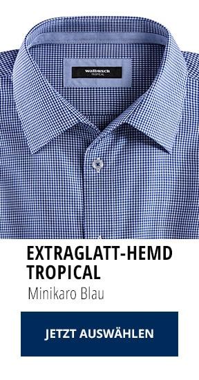 Extraglatt-Hemd Tropical Minikaro Blau | Walbusch