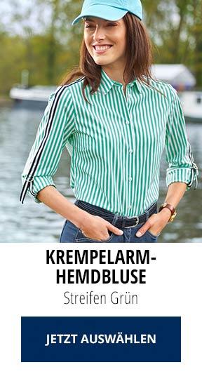 Krempelarm-Hemdbluse Streifen Grün   Walbusch