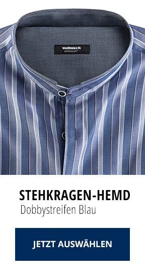 Stehkragen-Hemd Dobbystreifen Blau   Walbusch