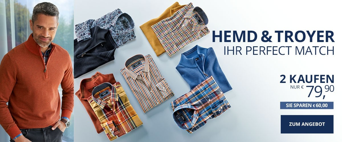 Herr Perfect Match Pullover + Hemd | Walbusch