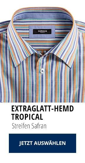 Extraglatt-Hemd Tropical Streifen Safran | Walbusch