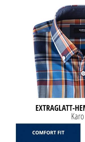 Extraglatt-Hemd Herbstlaub - Karo Blau, Comfort Fit   Walbusch