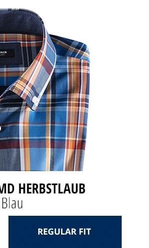 Extraglatt-Hemd Herbstlaub - Karo Blau, Regular Fit   Walbusch