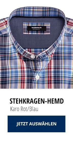 Stehkragen-Hemd Karo Rot/Blau | Walbusch