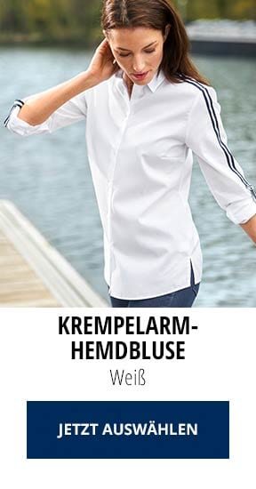 Krempelarm-Hemdbluse Weiß   Walbusch