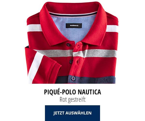 Piqué-Polo Nautica Rot gestreift   Walbusch