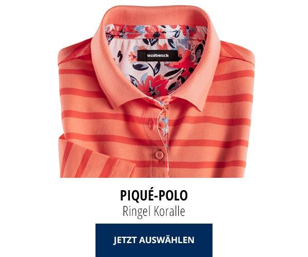 Piqué-Polo Sommer-Cotton Ringel Koralle | Walbusch