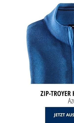 Zip-Troyer Herbstlaub - Azur   Walbusch