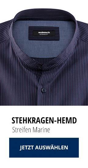 Stehkragen-Hemd Streifen Marine | Walbusch