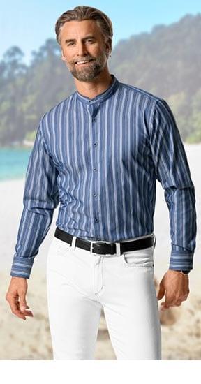 Stehkragen-Hemden Dobbystreifen Blau   Walbusch