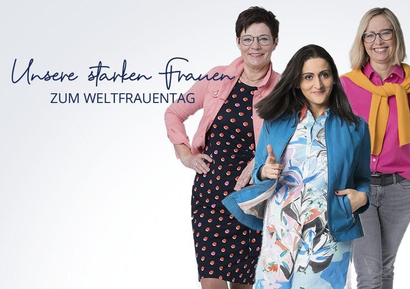 3 Frauen in modischen Outfits