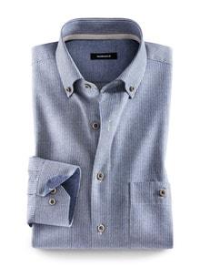 Baumwoll-Seiden-Hemd Streifen Blau Detail 1