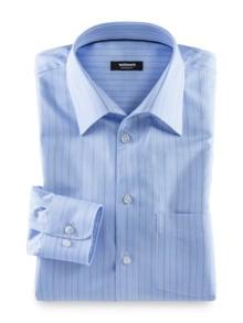 Extraglatt-Hemd Naturstretch Streifen Bleu Detail 1