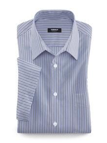 Extraglatt-Hemd Walbusch-Kragen Streifen Blau/Weiß Detail 1