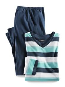 V-Pyjama Ozeano Türkis/Blau Detail 1