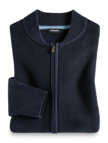 Zip-Strickjacke Soft Cotton Navy Detail 1
