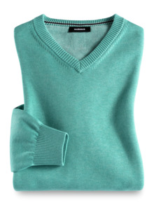 V-Pullover Soft Cotton Mint Detail 1