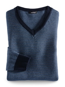 Streifen V-Pullover Merino-Mix
