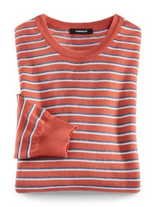 Leicht-Pullover Sommerringel Orange Detail 1