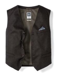 Loden Weste Wolle-Cashmere Braun Detail 1