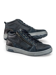 Kalbsleder-Sneaker High Top Blau Detail 1