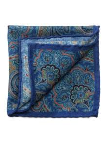 Paisley-Woll-Einstecktuch Blau Detail 1