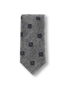 Krawatte Wolloptik Grau/Marine Detail 1