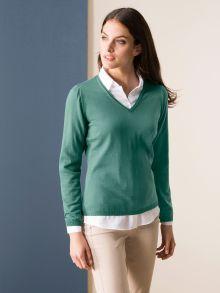 Merino-Pullover V-Ausschnitt