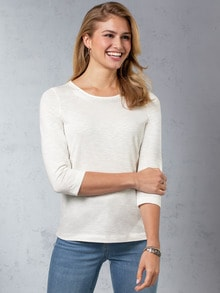 Baumwollshirt Perlenausschnitt