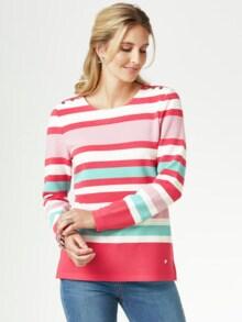 Struktur-Sweatshirt Streifen Calipso Detail 1